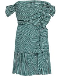 Sandro Off-the-shoulder Ruched Cotton-blend Seersucker Mini Dress Emerald - Green