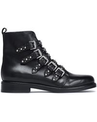 Maje - Woman Fortune Buckled Studded Leather Ankle Boots Black - Lyst