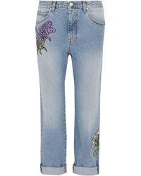 Alexander McQueen Appliquéd Distressed Mid-rise Straight-leg Jeans Light Denim - Blue