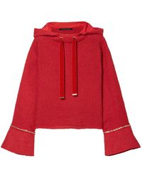 Mother Of Pearl Frayed Velvet And Chain-trimmed Tweed Hooded Sweatshirt Red