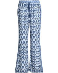 Joie - Woman Printed Silk-crepe Wide-leg Trousers Navy - Lyst