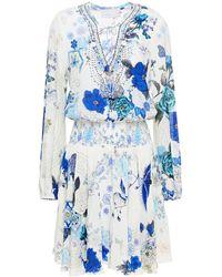 Camilla Crystal-embellished Shirred Printed Silk Crepe De Chine Mini Dress - White