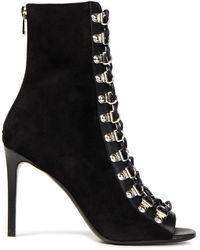 Balmain Ankle boots aus veloursleder mit lederbesatz und schnürung - Schwarz