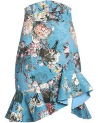 Nicholas - Arielle Ruffled Floral-print Cotton-blend Jacquard Skirt - Lyst