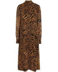 Ganni Midikleid Aus Georgette Mit Tigerprint Animal-print Größe 34 - Brown