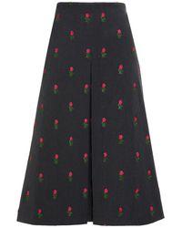 Vivetta Embroidered Pleated Stretch-twill Midi Skirt - Grey