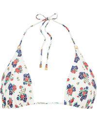Tory Burch Floral-print Triangle Bikini Top - White
