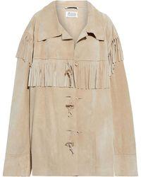 Maison Margiela Oversized Fringed Suede Jacket - Natural