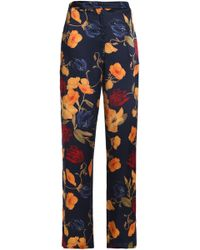 Mother Of Pearl - Floral-print Silk Crepe De Chine Straight-leg Trousers Midnight Blue - Lyst