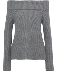 Robert Rodriguez Off-the-shoulder Ribbed-knit Sweater Gray