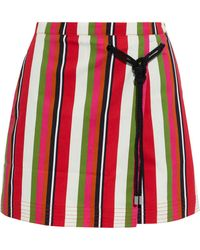 Solid & Striped The Savannah Knotted Striped Cotton-blend Mini Skirt - Red