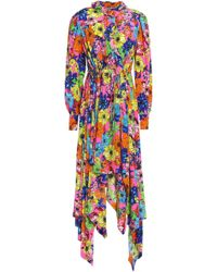 Preen By Thornton Bregazzi - Floral-print Silk Crepe De Chine Shirt Dress - Lyst