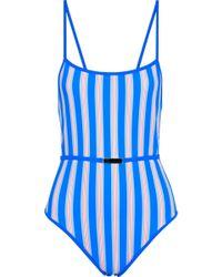 Diane von Furstenberg Belted Striped Swimsuit Blue