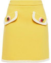 Moschino Crochet-trimmed Appliquéd Wool-blend Crepe Mini Skirt - Yellow