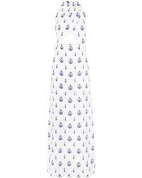 Seren London Soiree Cutout Printed Silk-satin Maxi Dress - White