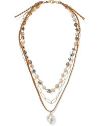 Chan Luu 18-karat Gold-plated Sterling Silver, Multi-stone And Cord Necklace Gold - Metallic