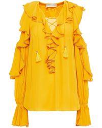 Elie Saab Cold-shoulder Ruffled Silk-crepe De Chine Blouse - Yellow