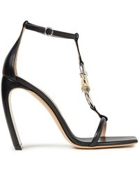 Lanvin Embellished Leather Sandals - Black