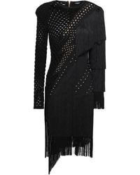 Balmain Fringed Studded Laser-cut Ponte Dress Black