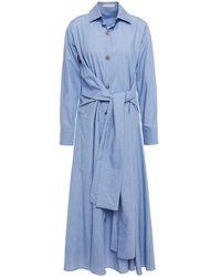 Palmer//Harding Belted Cotton-chambray Midi Shirt Dress Light Blue