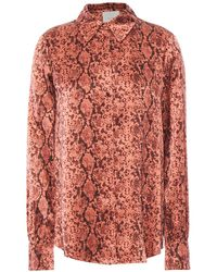 Cinq À Sept Isha Snake-print Silk-satin Shirt Antique Rose - Pink
