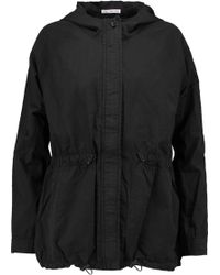 James Perse - Cotton And Silk-blend Hooded Coat - Lyst