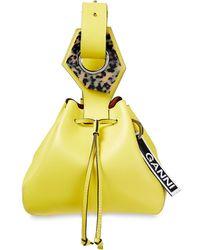 Ganni Beuteltasche aus leder mit verzierung - Gelb
