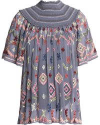 Needle & Thread - Smocked Embroidered Crepe De Chine Blouse Sky Blue - Lyst