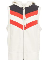 Rag & Bone Striped French Cotton-terry Hooded Vest Ivory - White