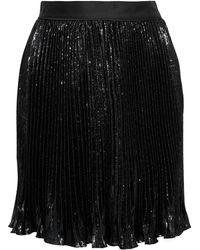 Diane von Furstenberg Guinevere minirock aus samt in metallic-optik mit falten - Schwarz