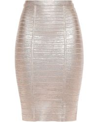 Hervé Léger Hervé Léger Kaitlin Metallic Bandage Pencil Skirt Rose Gold
