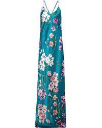 Olivia Von Halle - Preminova Barbara Floral-print Silk-satin Nightgown Teal - Lyst