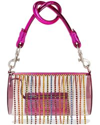 Area Roll Bag Crystal-embellished Metallic Leather And Pvc Tote Clear - Multicolour