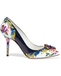 Dolce & Gabbana Crystal-embellished Floral-print Glossed-leather Pumps Multicolour - Blue
