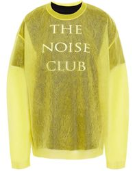 McQ Layered Jacquard-knit And Printed Cotton-jersey Top - Yellow