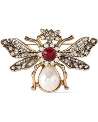 Kenneth Jay Lane Gold-plated, Faux Pearl And Bead Brooch Gold - Metallic