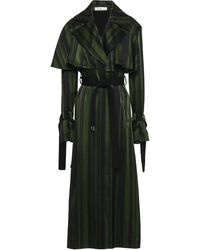ADEAM Striped Satin Trench Coat Forest Green