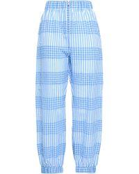 Ganni Charron Gingham Cotton-blend Seersucker Tapered Pants Light Blue