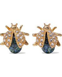 Ben-Amun 24-karat Gold-plated, Swarovski Crystal And Stone Earrings Gold - Metallic