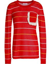 Sonia Rykiel - Ruffle-trimmed Striped Cotton And Silk-blend Sweater - Lyst