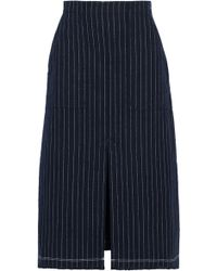 T By Alexander Wang - Split-front Pinstriped Cotton Skirt - Lyst