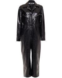 McQ Glossed-leather Jumpsuit Black