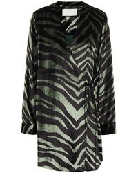 Michelle Mason Velvet Mini Wrap Dress Sage Green