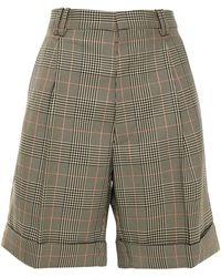 Maison Margiela Pleated Prince Of Wales Checked Twill Shorts - Black