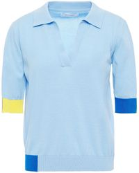 Chinti & Parker Color-block Cotton Polo Shirt Light Blue