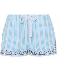 lemlem - Embroidered Striped Cotton Shorts Light Blue - Lyst