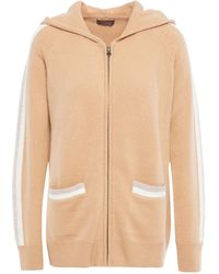 N.Peal Cashmere Striped Cashmere Hoodie - Natural