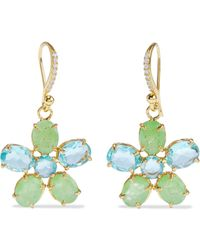 Bounkit 14-karat Gold-plated, Chrysoprase And Topaz Earrings - Multicolor
