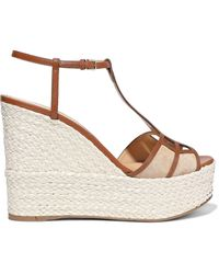 Sergio Rossi Easy Puzzle Cutout Suede And Leather Wedge Espadrille Sandals Brown