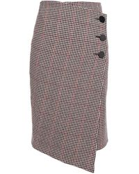Ba&sh Wrap-effect Houndstooth Wool-blend Skirt Black